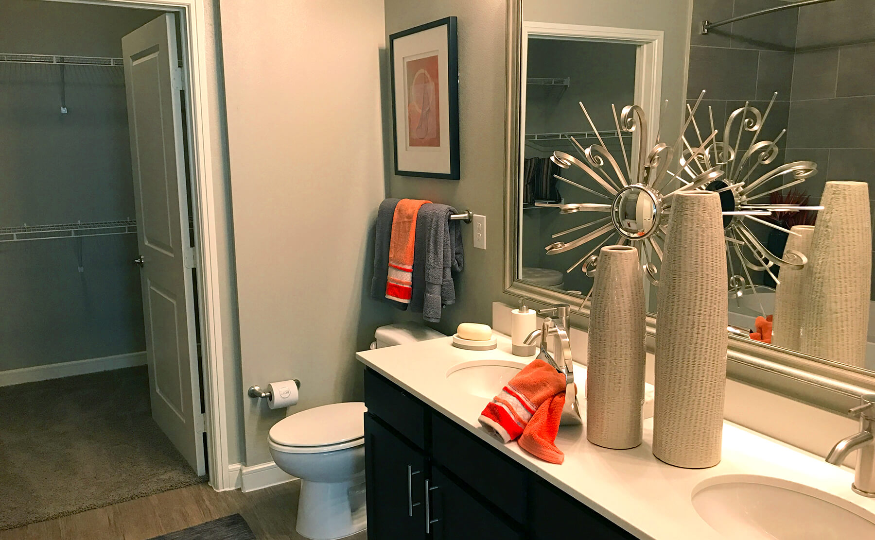 Apartments in Frisco with dual sinks and walk-in closets